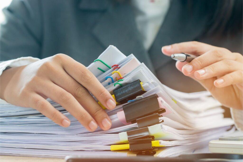 A bookeeper organizing a business' finances